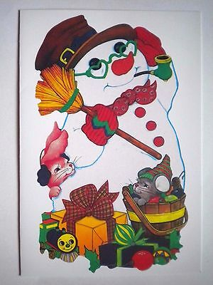 """Embassy Cards ~ VINTAGE """"CUTE SNOWMAN"""" CHRISTMAS GREETING CARD w/WHITE ENVELOPE"""