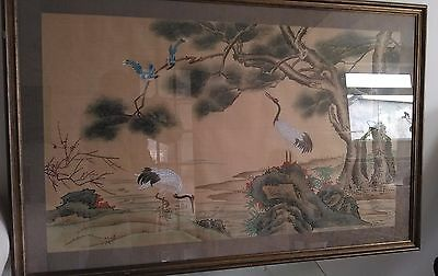 "Vintage Large 47""x 31"" Chinese Water Colour ""Cranes By A Lake"" Painted On Silk"