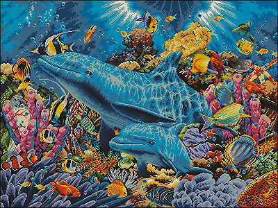 Dolphins in the Ocean- Cross Stitch Chart - Free Postage
