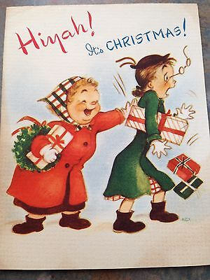 Vtg NOS Card Christmas Ladies Girl Shoppers Wearing Snow Boots Rust Craft 1948