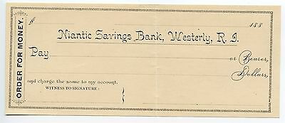 1880 Order for Money Order Unused Niantic Savings Bank Westerly RI Check AA0531