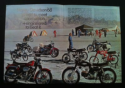 1968 Harley Davidson Sportster Electra Glide motorcycle print ad 1967 1969