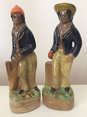 ANTIQUE 19th CENTURY PAIR OF STAFFORDSHIRE CERAMIC CRICKETERS CRICKET FIGURINES