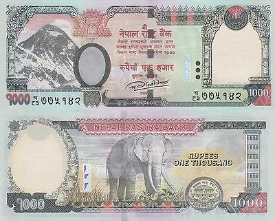 Nepal 1000 Rupees (2016) - Mt. Everest/Elephant/p75-New UNC