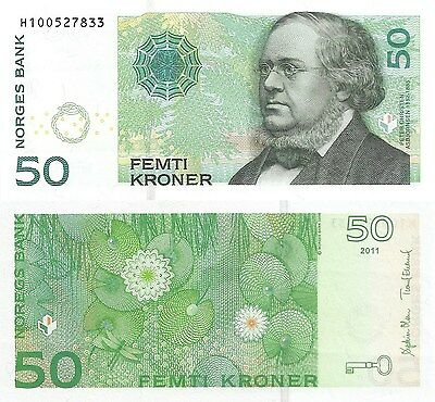 Norway 50 Kroner (2011) - Water Lillies and Dragonfly/p46d/Prefix H UNC