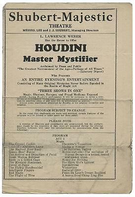 Harry Houdini  ORIGINAL Vintage 1925 Performance Program Providence, RI Shubert