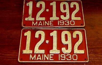 2 Matching Vintage 1930 Maine License Plate Plates 12-192 For Cars