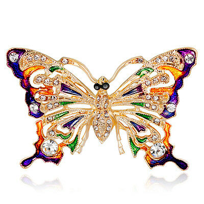 Fashion Gold Plated Colorful Enamel Crystal Butterfly Brooch Pin Party Jewelry