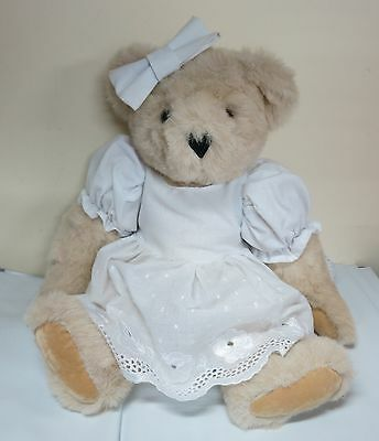 Vermont Teddy Bear Co Special Occasion Girl Jointed Cream Bear White Dress