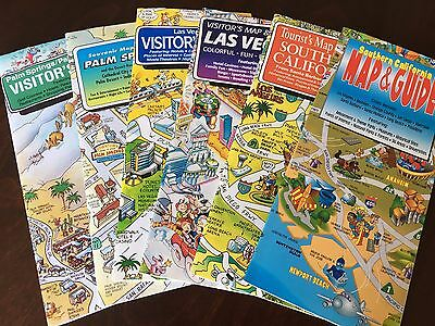 Vintage Lot of Visitor's Cartooned Maps (Las Vegas, Palm Springs, Southern CA)