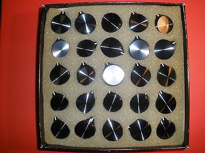 "Nos Box Lot Of 25 Alco Kpn900B 1/4"" Shaft Black Anodized Knurled Aluminum Knobs"