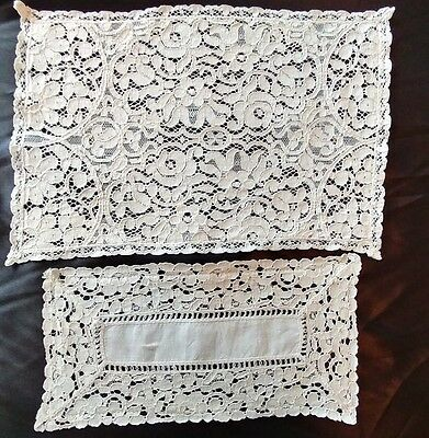 "2 Antique French ALENCON LACE Doilies IVORY/CREAM 12""×8"" & 10""× 5"" GORGEOUS(#31)"