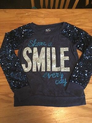 Justice Girls Size 12 Dark Blue Sequined Sparkle Sweater! EUC!