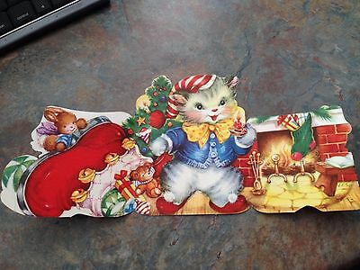 Vtg Card Christmas Anthropomorphic Santa Kitten Cat J. C. Sax Die Cut Fireplace