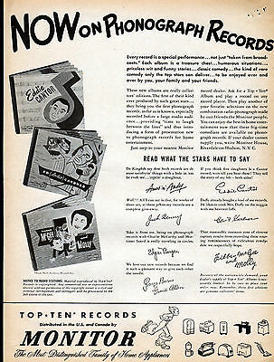 1956 Monitor  Phonograph Records ad-Jack Benny, Amos & Andy, Fibber McGee -/56