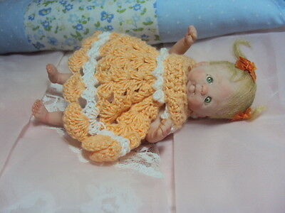 """Mini OOAK HAND SCULPTED  Polymerclay Doll  Baby Girl Charlize 5"""""""