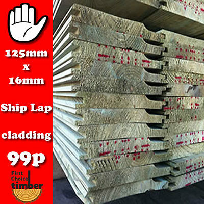 Tanalised 125mm x 16mm Shiplap Timber Cladding 160m Shed Cladding Stable Boards