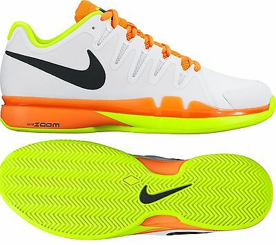 Nike Zoom Vapor 9.5 Tour clay tennis shoes - white, orange & volt UK 8