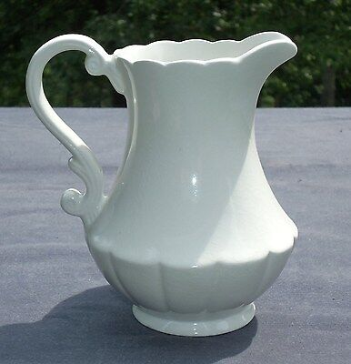 """Vtg White IRONSTONE 6"""" PITCHER. Scroll scalloped top. Wm Adams Sons England"""