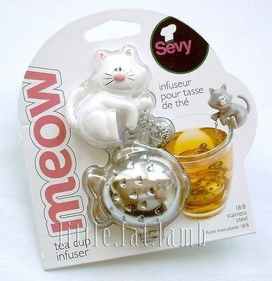 Sevy Meow Cute Kitty Cat & Goldfish Tea Cup Mug Stainless Steel Infuser White