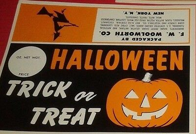 Set of 6 Vintage WOOLWORTH DEPARTMENT STORE HALLOWEEN LABELS, WITCH & PUMPKIN
