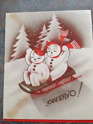 Vtg Snowman Couple Cheerio!  Bobsled Red Scarf Caps Snow Christmas Trees Card