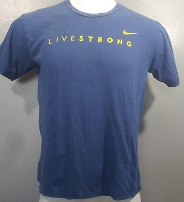 NIKE Livestrong Men's T-Shirt Sz M, Blue Athletic Swoosh Logo Casual Relaxed Fit