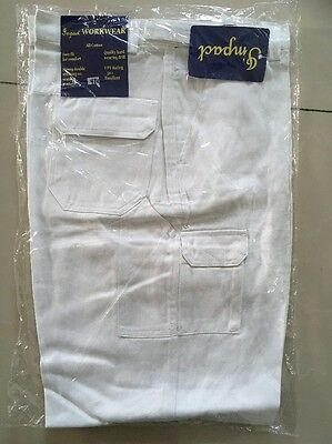 2 Pairs mens White Cotton Drill work pants 112R