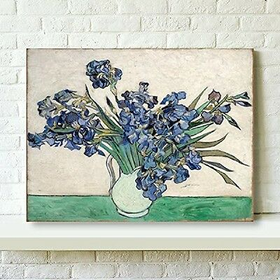 Canvas Print Pictures Wall Art Home Decor Van Gogh Painting Vase Irises Framed