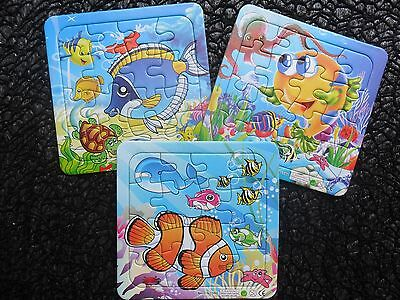 Bulk Lot  3  Under The Sea Creature Jigsaw Puzzles Toy Party Favor Novelty