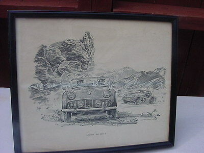 Robert Riger Framed Car Race Print