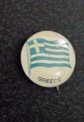 RARE 1917 Green Duck Flag of Greece Lithograph Pinback  99 Years Old  Nice!