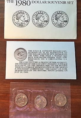 3 Coin Set of 1980-S Uncirculated Susan B. Anthony Silver Dollars