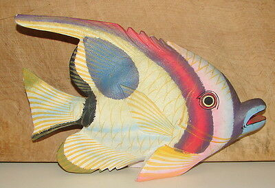 Beautiful Vintage Colorful Hand Carved & Painted Wooden Fish Sculpture