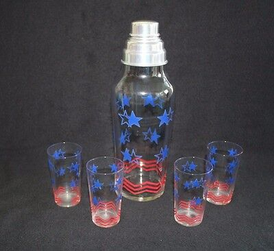 July 4th Stars and Stripes Cocktail Shaker & Four Glasses