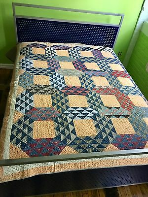 Great Graphic Vintage Antique Full Size QUILT Blues Reds Peach VGC All Hand Sewn