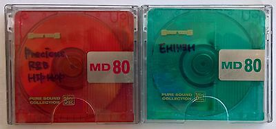 Two used 80 Minute Sunny Techs MiniDiscs with cases