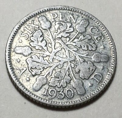 Great Britain (Uk) 1930 Six Pence Silver Coin - King George V