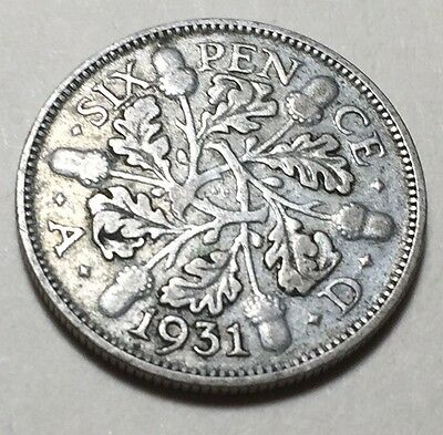 Great Britain (Uk) 1931 Six Pence Silver Coin - King George V