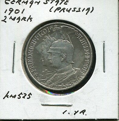 ** German State - Prussia 1901 - 2 Mark /// Silver Coin **