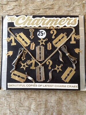 Old Vending Display Metal RAZOR BLADE Charms Fish #1 Star Arrow Question