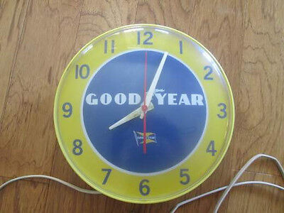 "Vintage Goodyear Advertising Electric Garage Wall Clock 8"" Dia."
