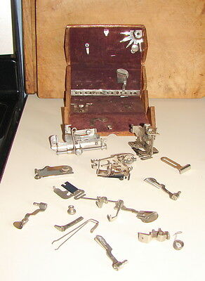 Antique Singer Sewing Machine Wood Dovetailed Parts Box Attachments Pat 1889
