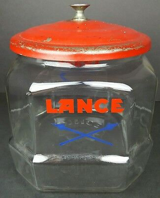 Vintage Lance Snacks 8 Sided General Store Counter Top Glass Jar w/ Lid Man Cave