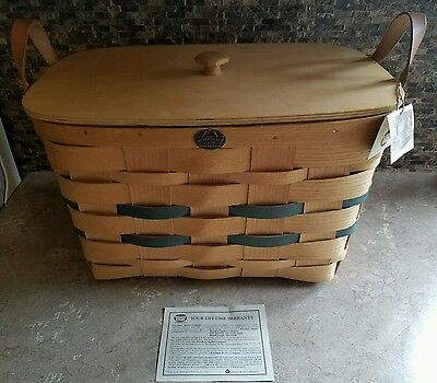 Brand New Peterboro Basket With Handles And Lid
