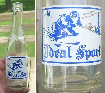 Rare Vintage Soda Bottle Acl Ideal Sport With Winter Skier 8 Ozs Armagh P.q.