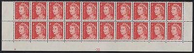 1966 4c Queen Elizabeth plate -20 lower block of 20, ordinary paper, mnh tone