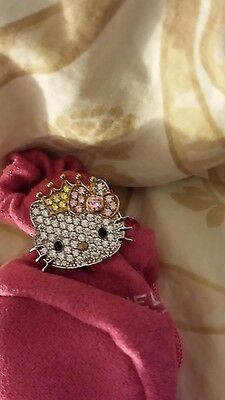Hello Kitty with bow and crown, .925 Sterling Silver ring w/ Swarovski crystals.