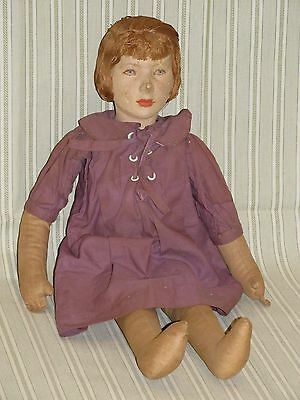 """RARE Early 17.5"""" WPA Cloth Doll molded sculpted facial features cloth body!"""