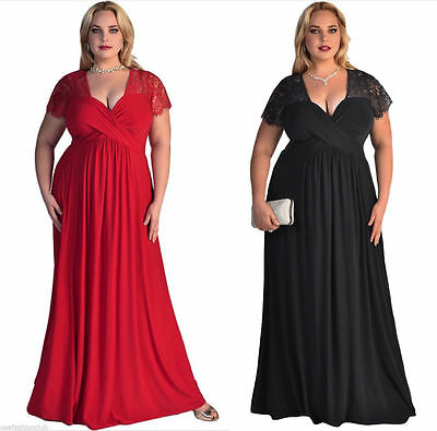 Women's Plus Size Short Sleeves Prom Party Evening Cocktail Gown Long Lace Dress